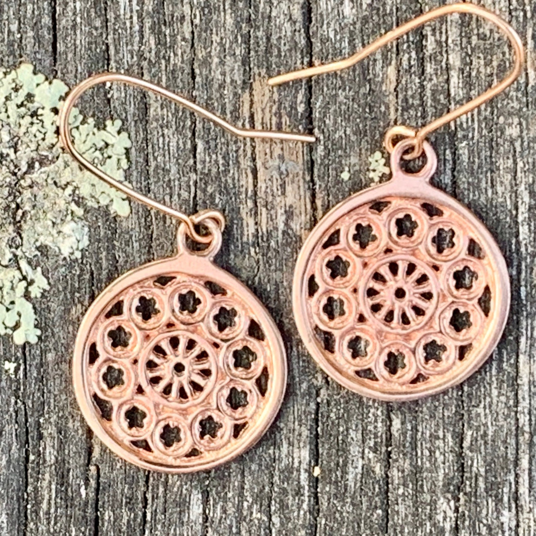 Small Rose Window Earrings, 9ct Rose Gold, Rowena Watson Designs