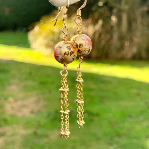 Japanese Decal Beads and Gold Fill Tassel Earrings, Rowena Watson Designs