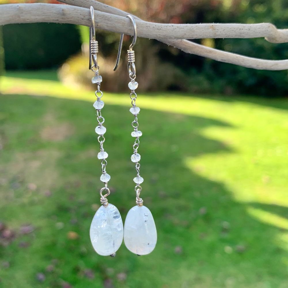 Rainbow Moonstone Chain Earrings, Rowena Watson Designs