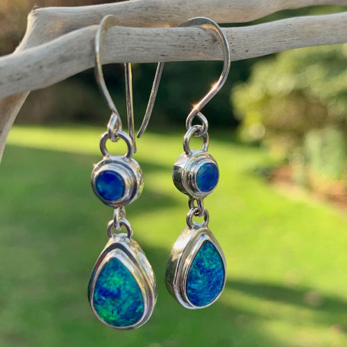 Australian Opal Doublet Drop Earrings, Rowena Watson Designs