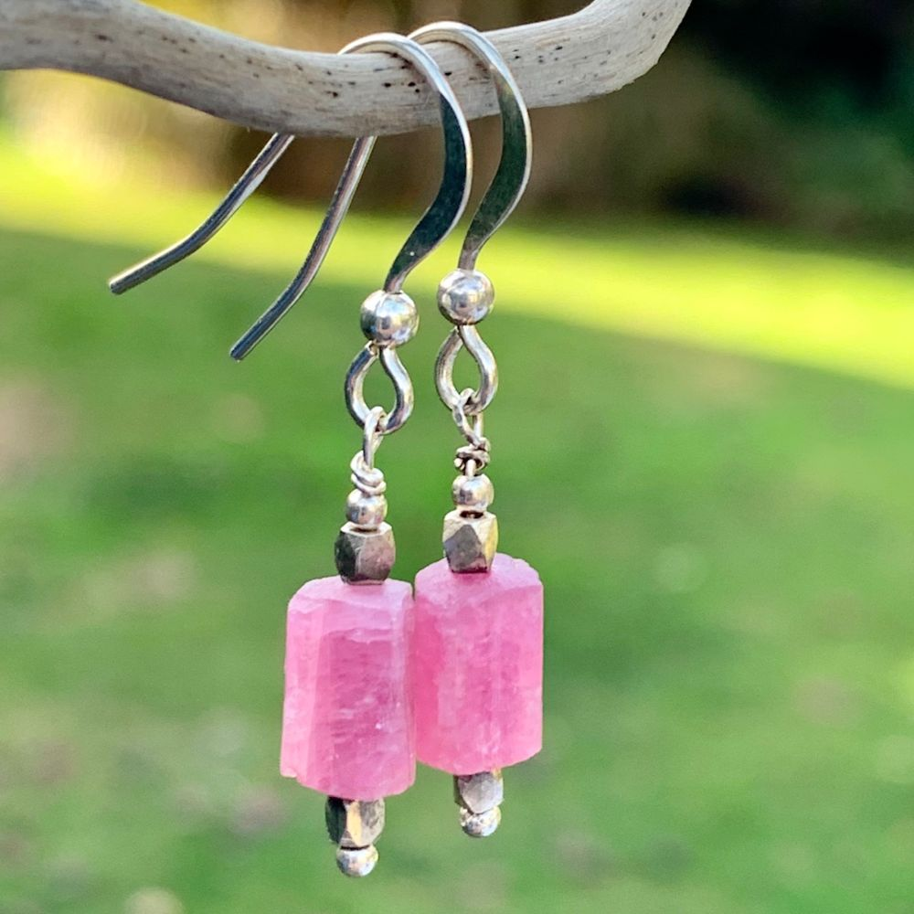 Brazilian Pink Tourmaline Earrings, Rowena Watson Designs