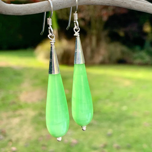 Vintage Czech Satin Glass Earrings, Green, Rowena Watson Designs