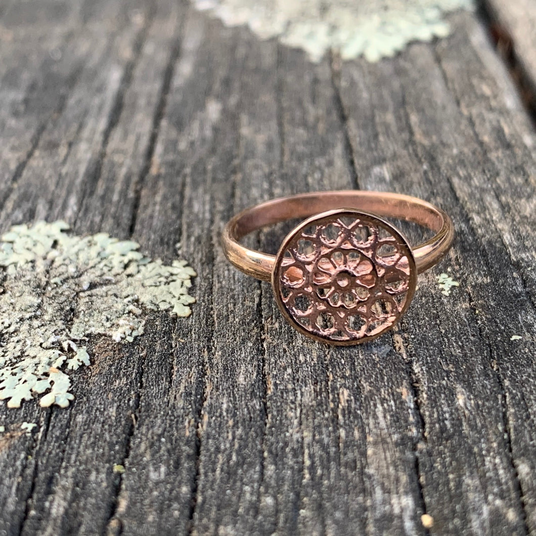 9ct Rose Gold Rose Window Ring, Rowena Watson Designs