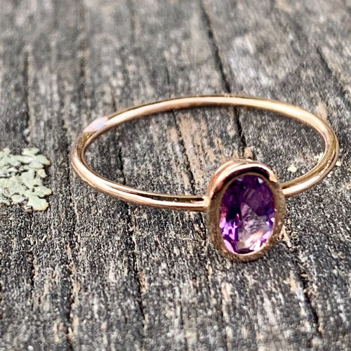 14ct Rose Gold Amethyst Ring, Rowena Watson Designs