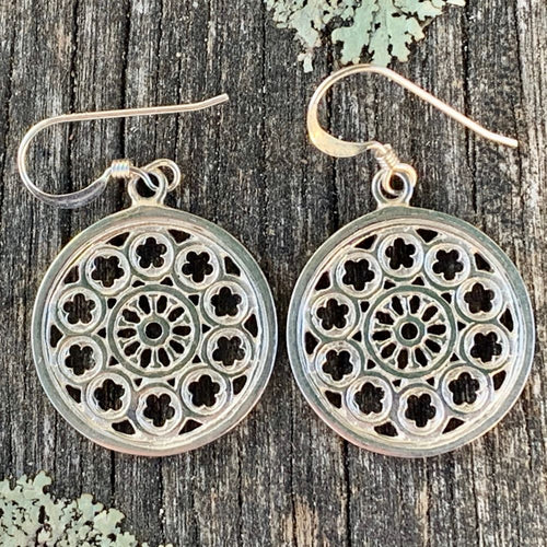 Large Rose Window Earrings, Sterling Silver, Rowena Watson Designs