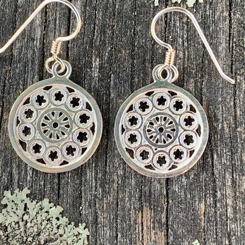 Small Rose Window Earrings, Sterling Silver, Rowena Watson Designs