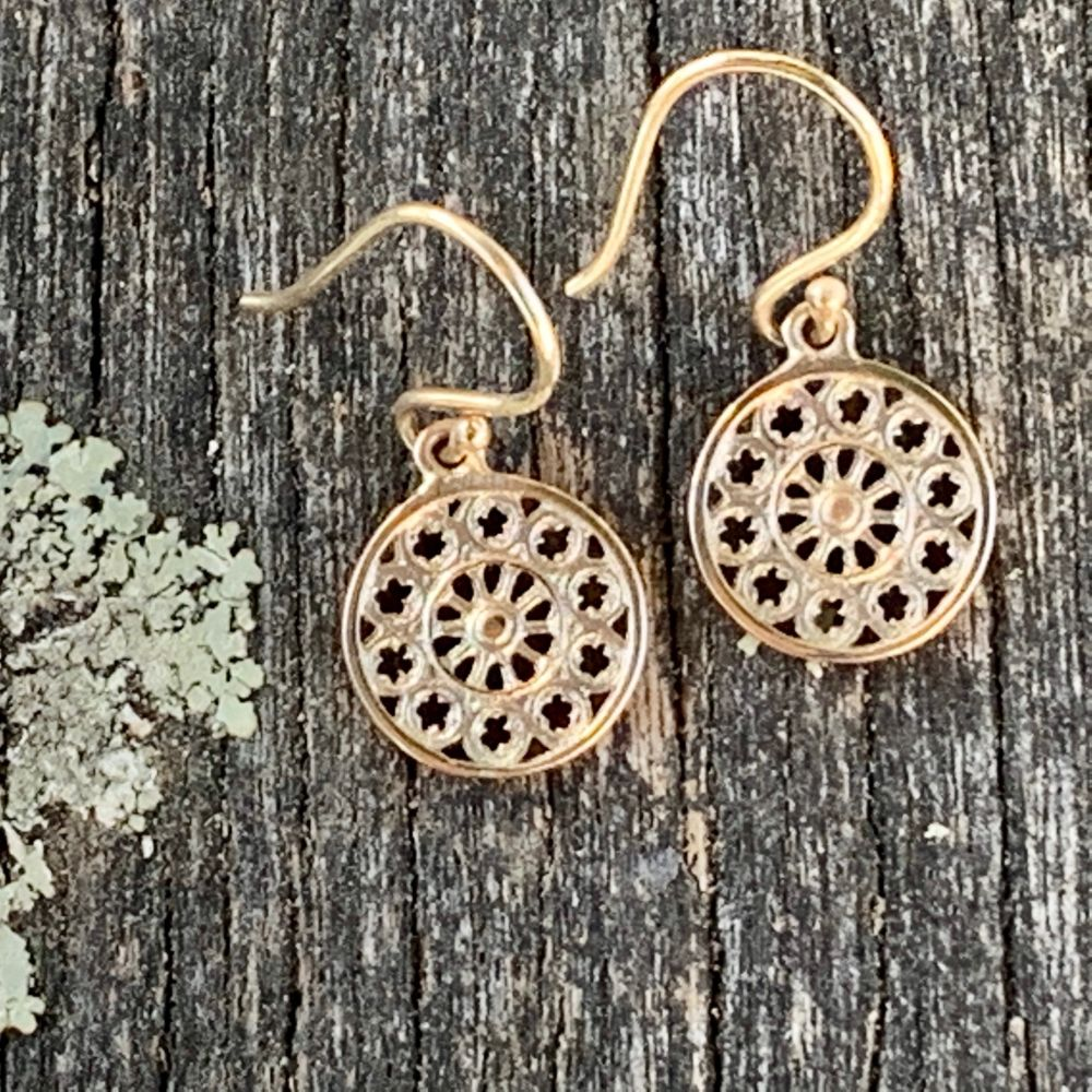 Tiny Rose Window Earrings, 9ct Yellow Gold, Rowena Watson Designs