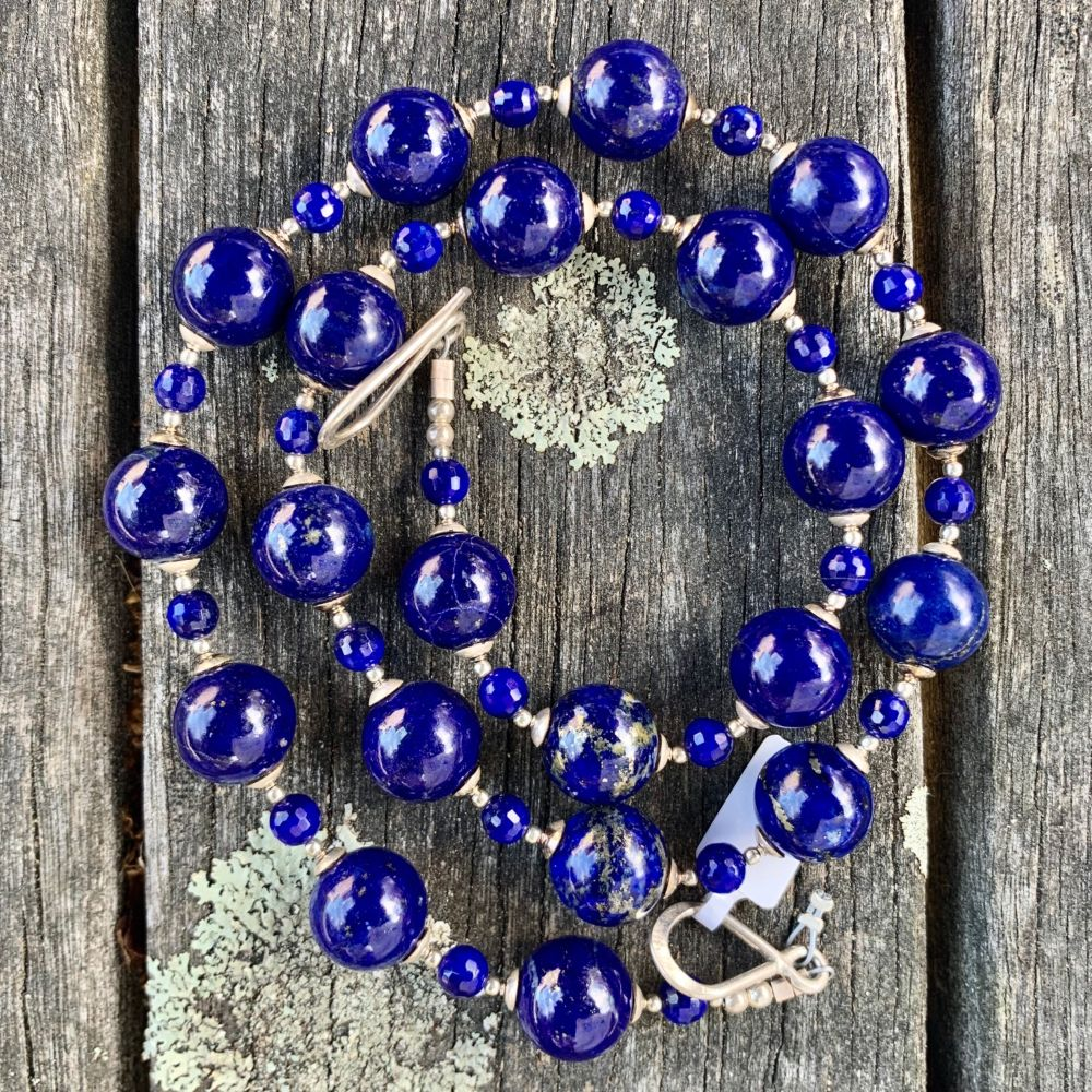 Afghani Lapis Lazuli and Sterling Silver Necklace, Rowena Watson Designs