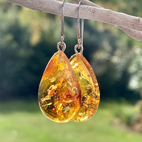 Small Baltic Amber Drop Earrings, Rowena Watson Designs