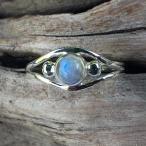 Rainbow Moonstone Ring, Rowena Watson Designs