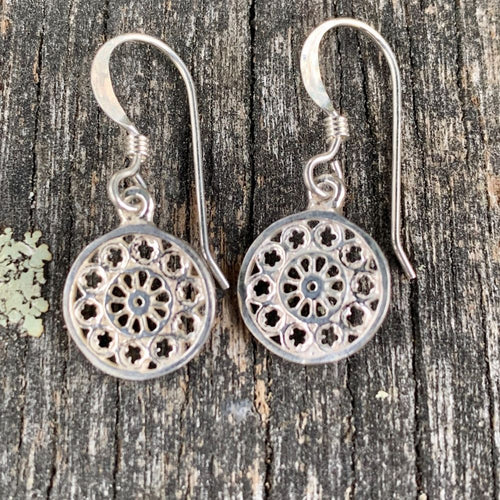 Tiny Rose Window Earrings, Sterling Silver, Rowena Watson Designs