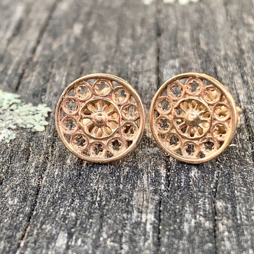 Tiny Rose Window Stud Earrings, 9ct Yellow Gold, Rowena Watson Designs