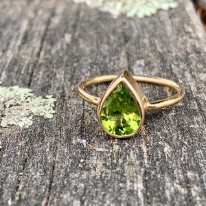 9ct Yellow Gold and Teardrop Peridot Ring, Rowena Watson Designs