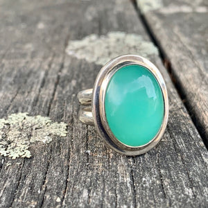 Oval Chrysoprase Ring, Rowena Watson Designs
