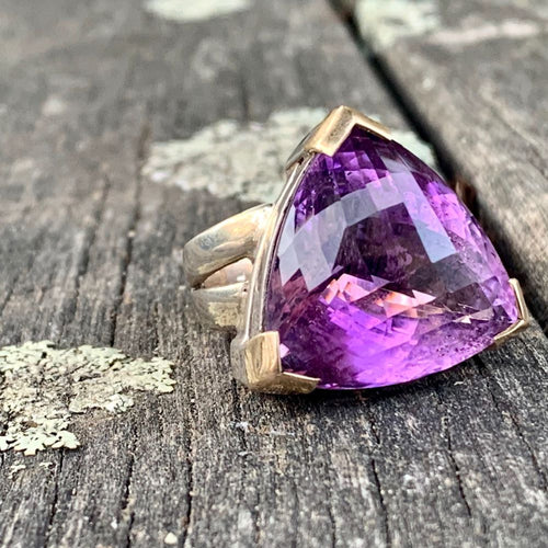 Faceted Trillion Amethyst Ring with 9ct Gold Detail, Rowena Watson Designs
