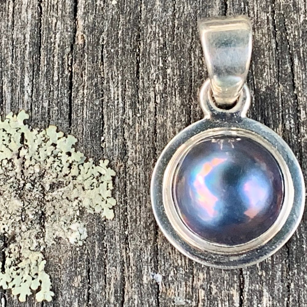 Peacock Mabe Pearl Pendant, Rowena Watson Designs