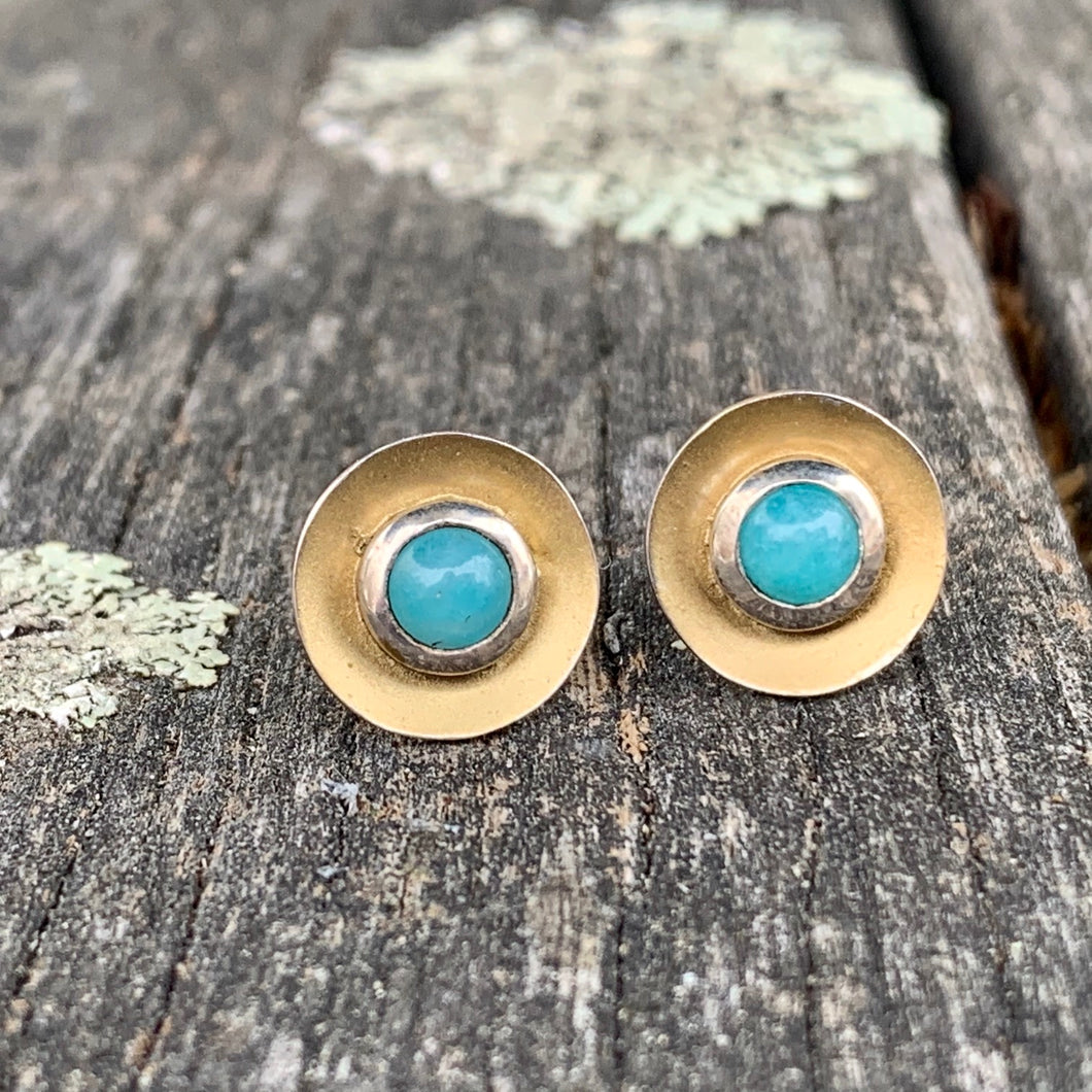 Amazonite Disc Stud Earrings, Rowena Watson Designs