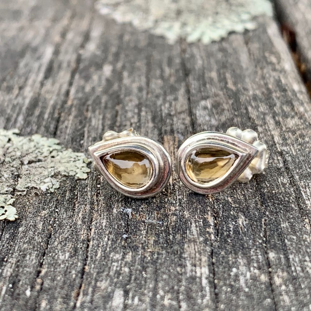 Tear Drop Citrine Stud Earrings, Rowena Watson Designs