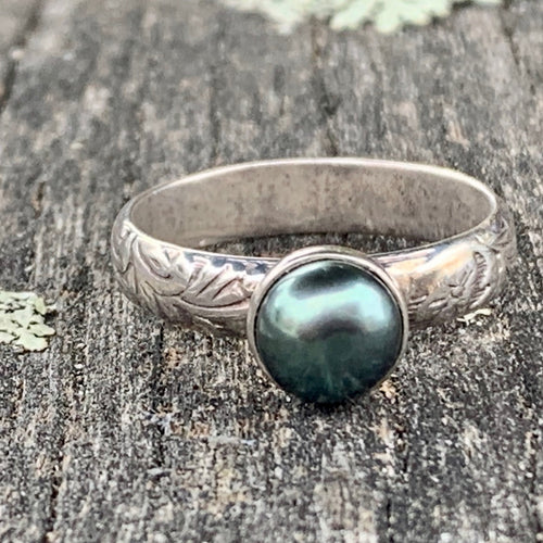 Fresh Water Peacock Pearl on Ornate Band Ring, Rowena Watson Designs