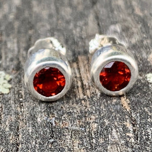 Fire Citrine and Sterling Silver Stud Earrings, Rowena Watson Designs