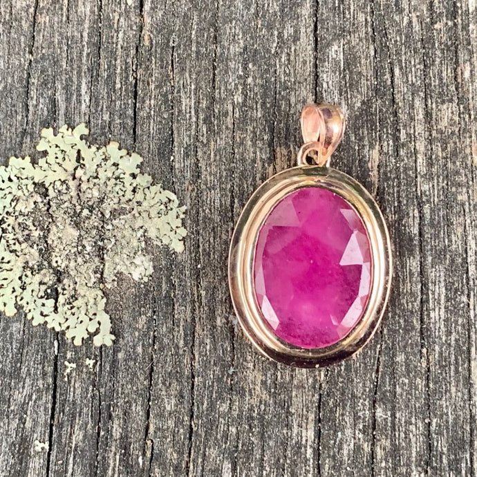 9ct Rose Gold Indian Ruby Pendant, Rowena Watson Designs