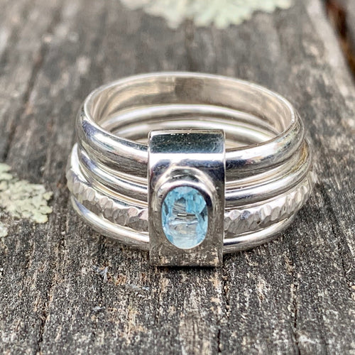 Sterling Silver and Aquamarine Unity Spinner Ring, Rowena Watson Designs