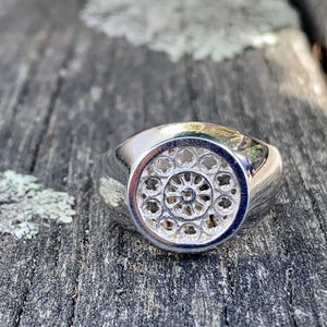 Sterling Silver Rose Window Signet Ring, Rowena Watson Designs