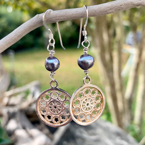 Small Rose Window and Peacock Pearl Earrings, Rowena Watson Designs
