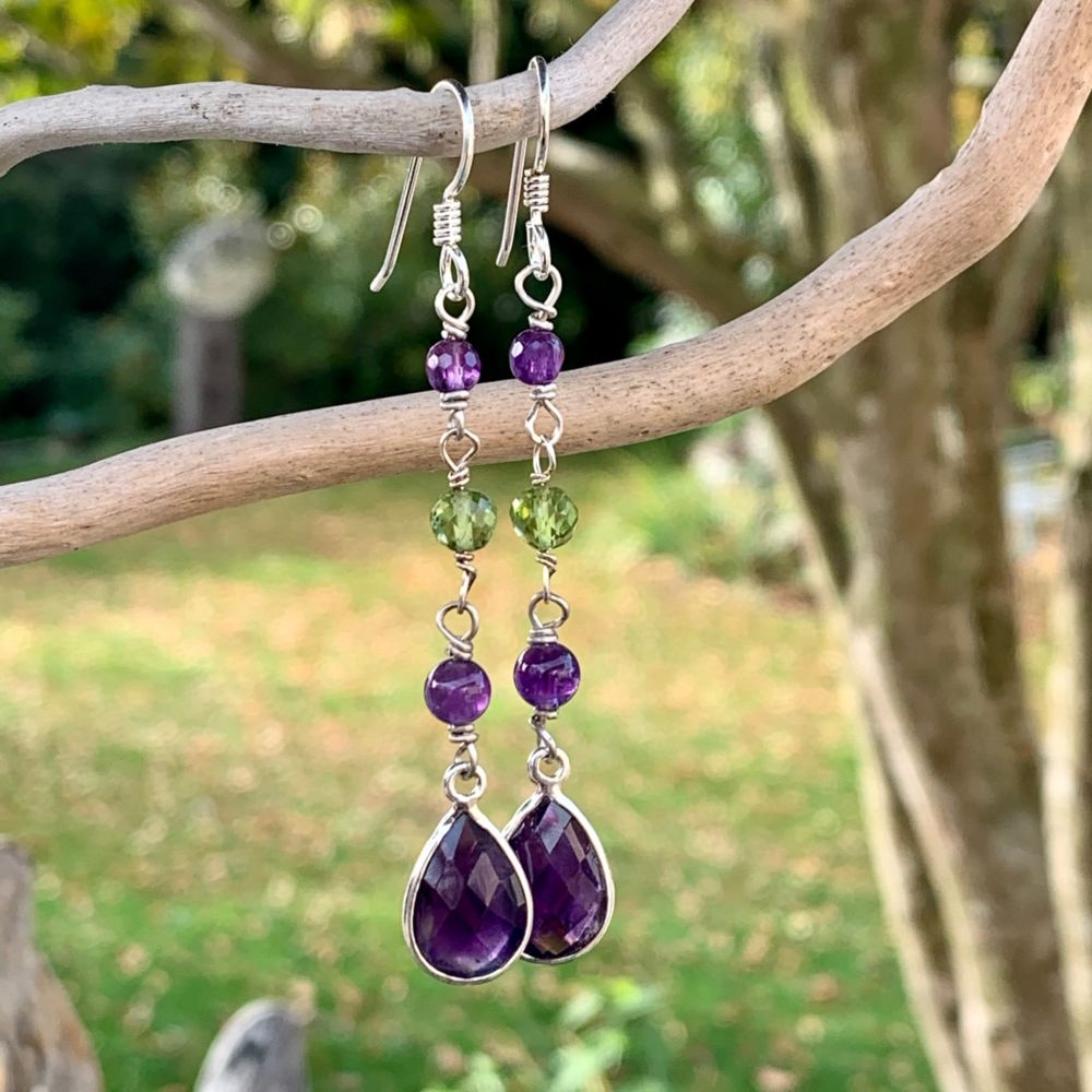 Amethyst and Peridot Suffragette Earrings, Rowena Watson Designs