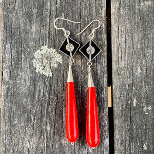 Red Venetian Glass and Black Onyx Earrings, Rowena Watson Designs