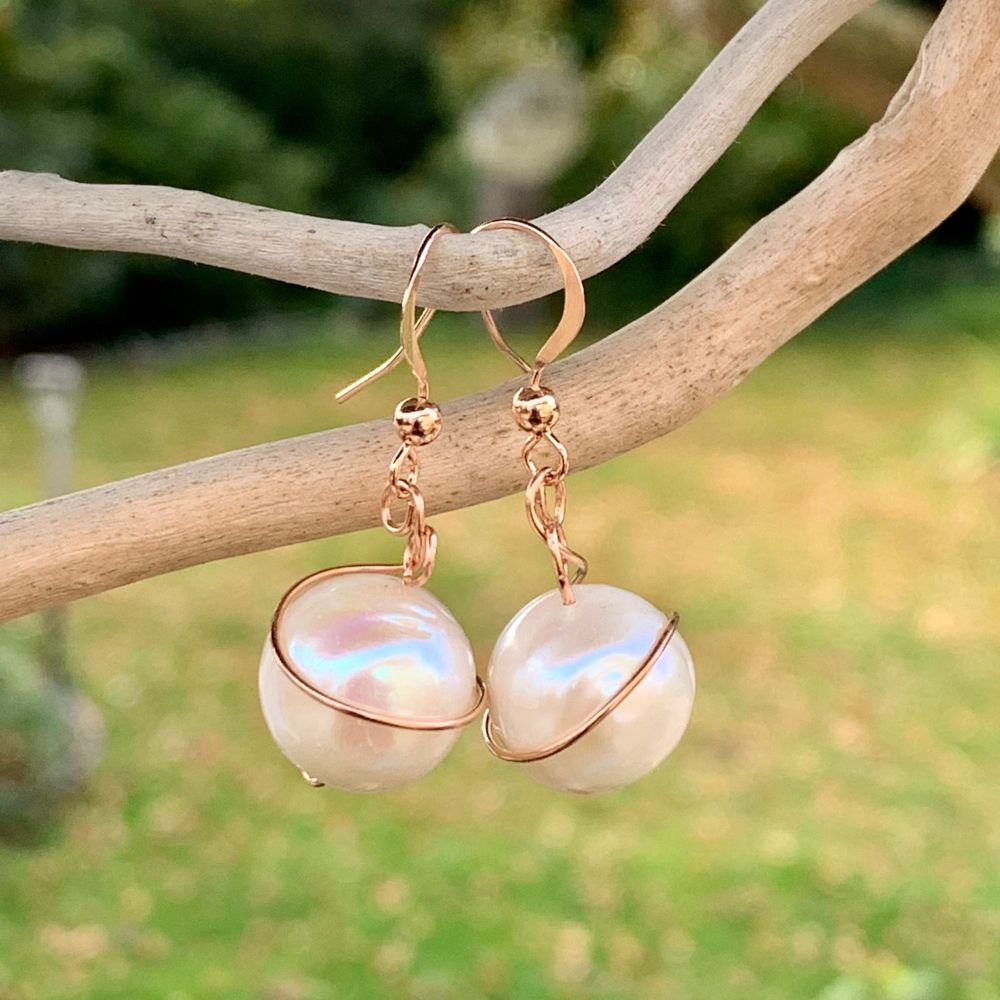 White Freshwater Pearl and Rose Gold Fill Earrings, Rowena Watson Designs