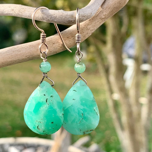 Faceted Chrysoprase Drop Earrings, Rowena Watson Designs