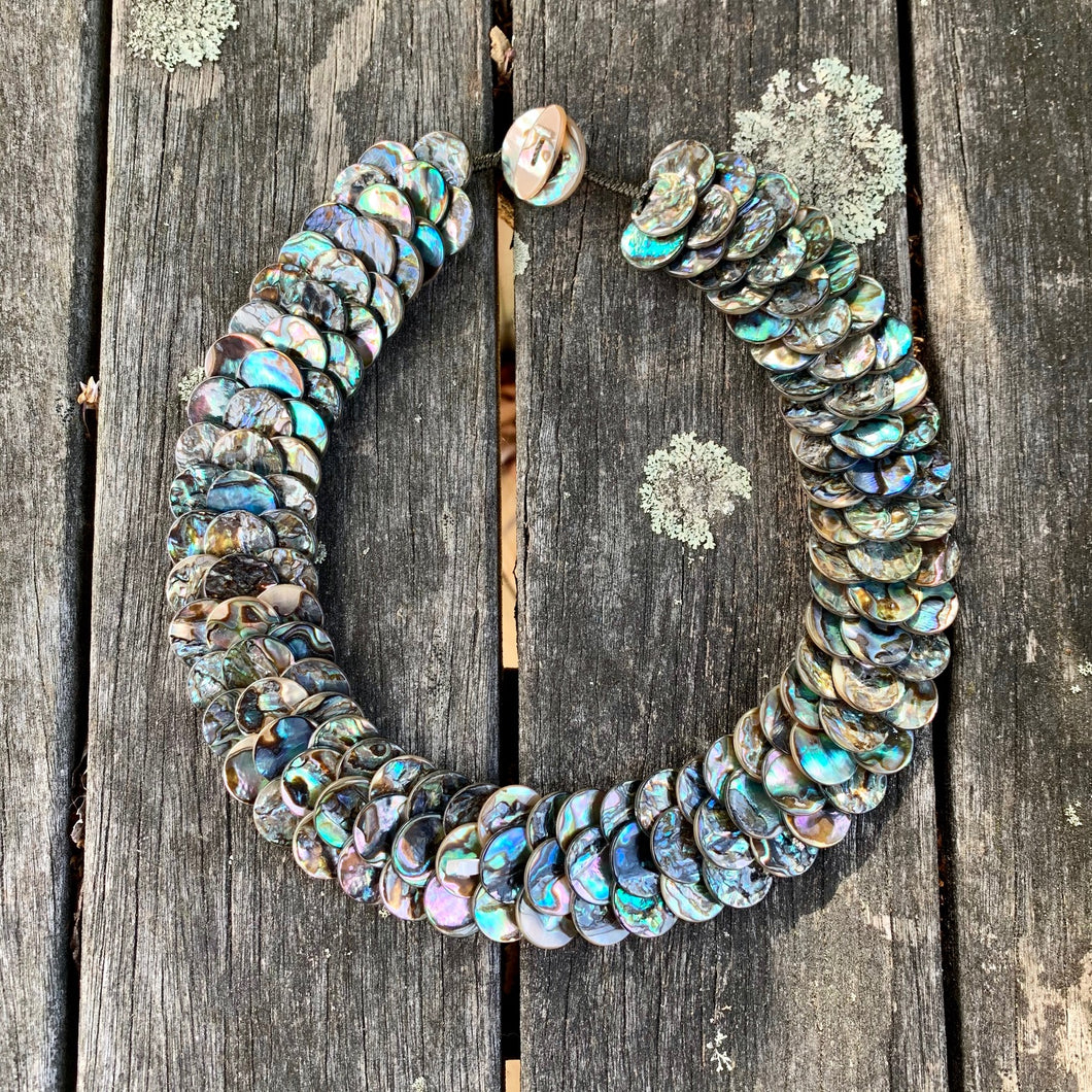 Large Paua Shell Disc Necklace
