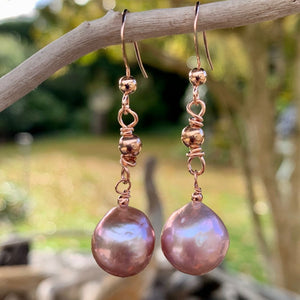 Natural Pink Freshwater Pearl & Rose Gold Fill Earrings, Rowena Watson Designs