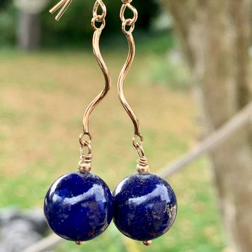 Lapis Lazuli and Gold Fill Earrings, Rowena Watson Designs