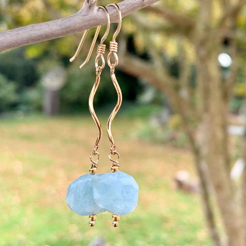 Faceted Aquamarine and Gold Fill Earrings, Rowena Watson Designs