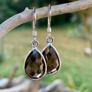Faceted Smokey Quartz Drop Earrings, Rowena Watson Designs