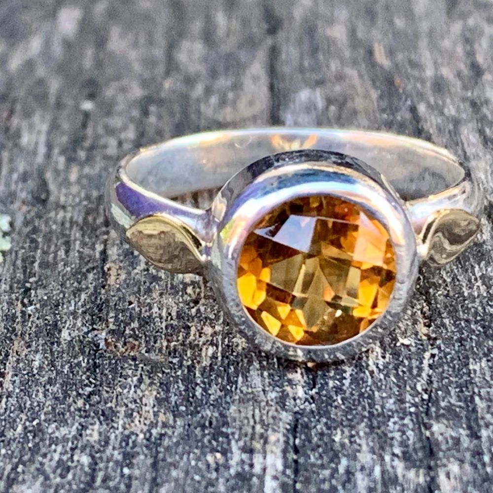 Faceted Citrine in Sterling Silver & 9ct Gold Ring, Rowena Watson Designs