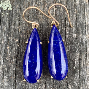 9ct Yellow Gold and Lapis Lazuli Earrings, Rowena Watson Designs