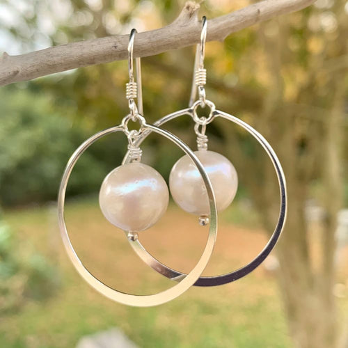 Fresh Water Pearl & Sterling Silver Hoop Earrings