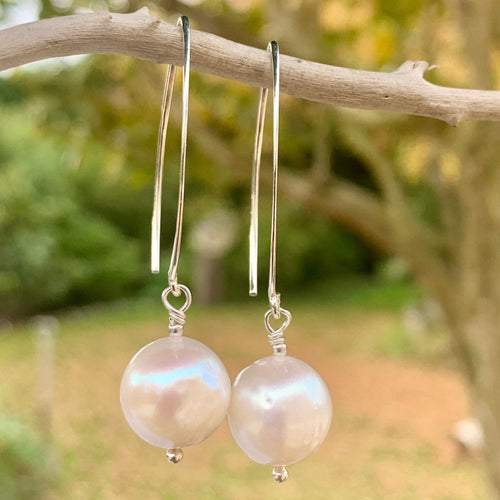Fresh Water Pearl & Sterling Silver Earrings, Rowena Watson Designs