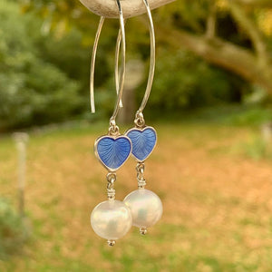 Fresh Water Pearl & Norwegian Enamel Heart Earrings, Rowena Watson Designs