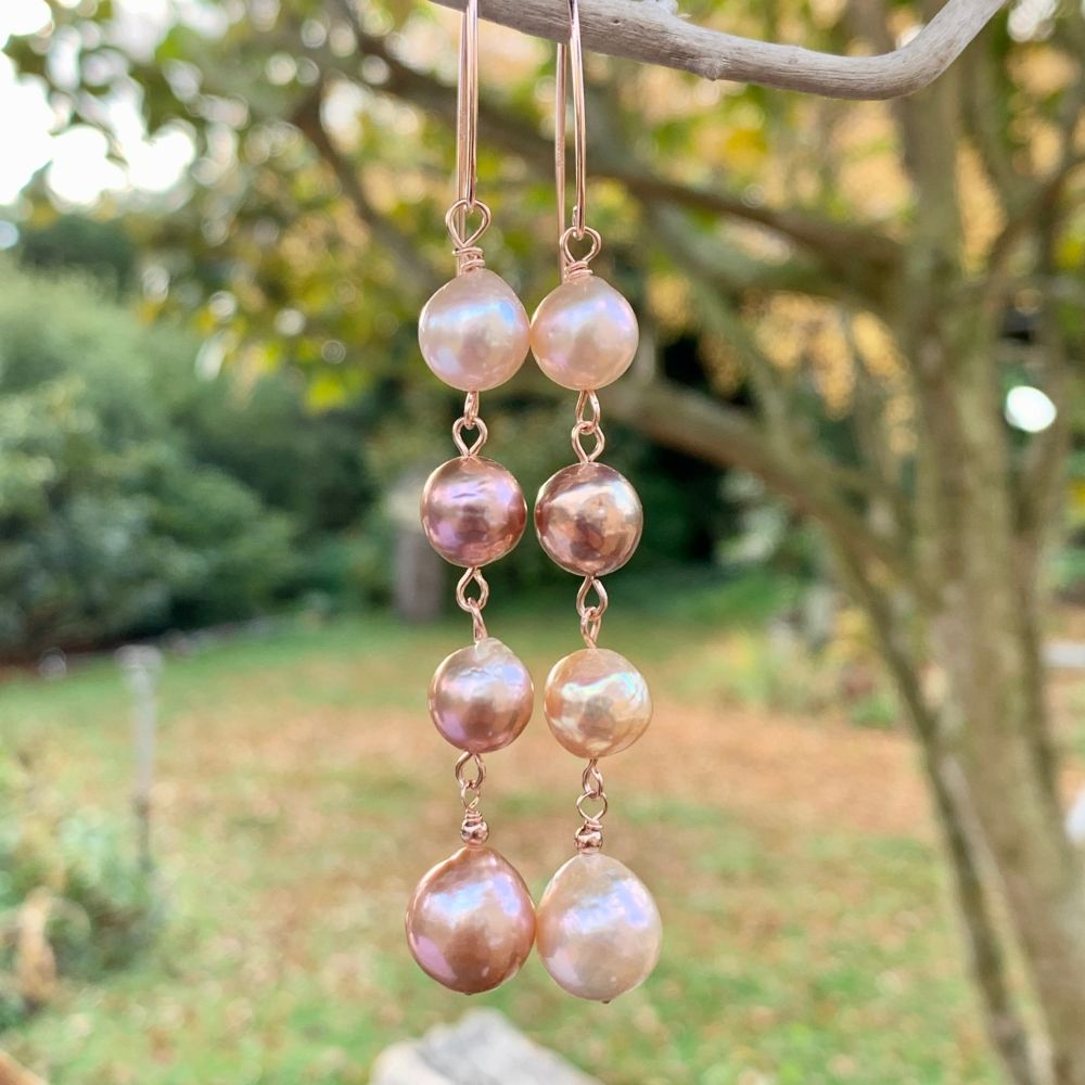 4 Tier Natural Pink Freshwater Pearl Earrings, Rowena Watson Designs