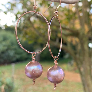 Natural Pink Freshwater Pearl & Rose Gold Fill Hoop Earrings, Rowena Watson Designs