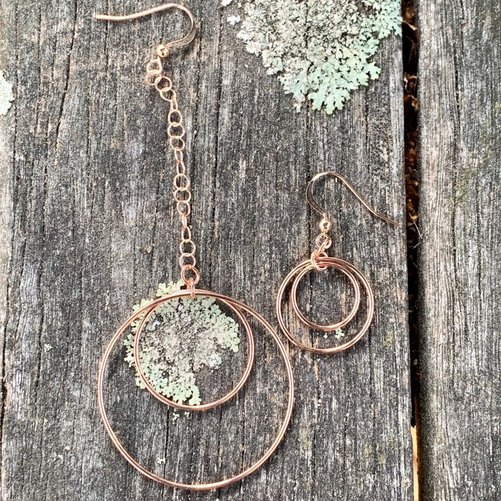 Rose Gold Fill Opposite Hoop Earrings, Rowena Watson Designs