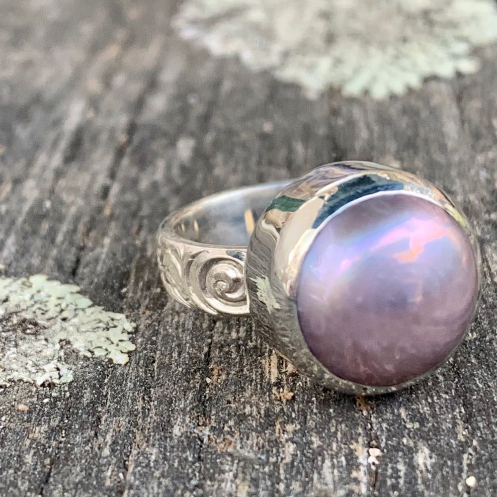 Natural Pink Fresh Water Pearl on Ornate Band Ring, Rowena Watson Designs