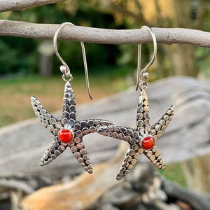 Red Coral Starfish Earrings, Rowena Watson Designs