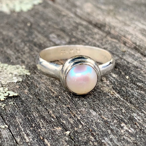 Simple White Fresh Water Pearl Ring, Rowena Watson Designs