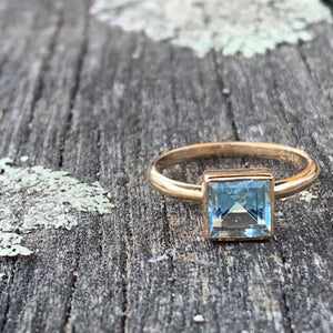 14ct Yellow Gold and Blue Topaz Ring, Rowena Watson Designs