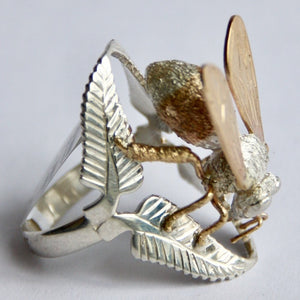 9ct Gold and Sterling Silver Honey Bee Ring, Rowena Watson Designs